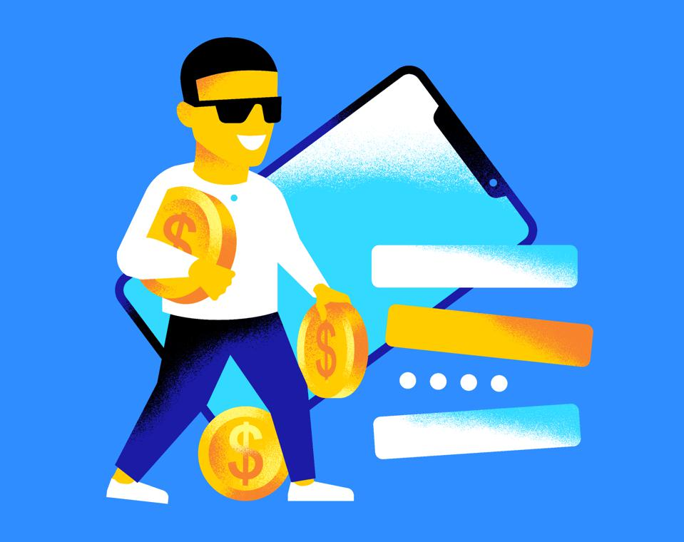 graphic, man walking, sunglasses, holding coins, smartphone in background
