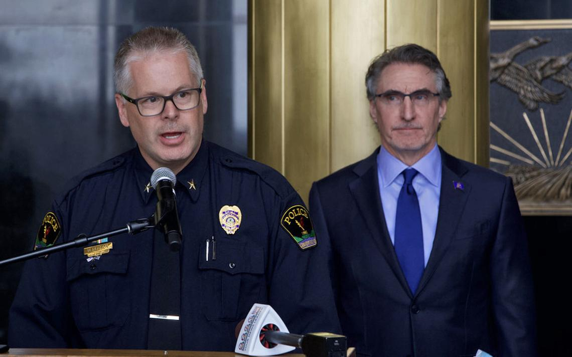 Grand Forks Police Chief Mark Nelson speaks on Monday, April 19, 2021, about a bill that would grant health care coverage to dependents of police officers killed in the line of duty. Gov. Doug Burgum, right, signed the bill Monday. Jeremy Turley / Forum News Service
